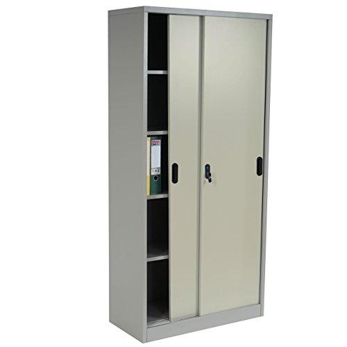 Aktenschrank-Boston-T131-Metallschrank-Broschrank-Stahlschrank-Schiebetren-180x85x40cm-creme