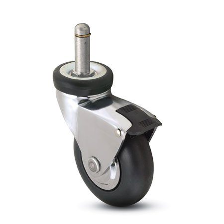 "Shepherd Omega Series Caster, 3"" Neoprene Rubber With 3/8"" X 1"" Grip Ring Stem With Brake"