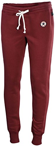 Converse Womens All Star Patch Core Cuffed Joggers-Maroon