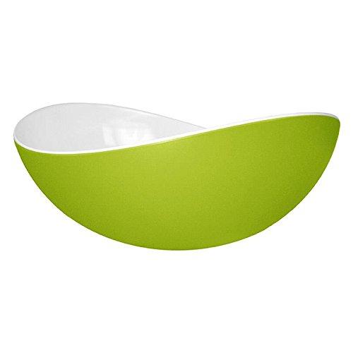 Entity 11 Salatschüssel Schale, Schüssel, Geschirr aus Melamin, Größe L, weiß / grün