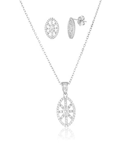Bliss Sterling Silver Marquise Post Earrings and Necklace Set