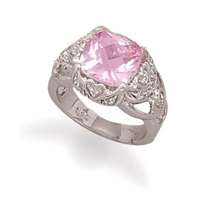 Sterling Silver Rhodium Plated Synthetic Pink Sapphire and Pave CZ Ring / Size 6