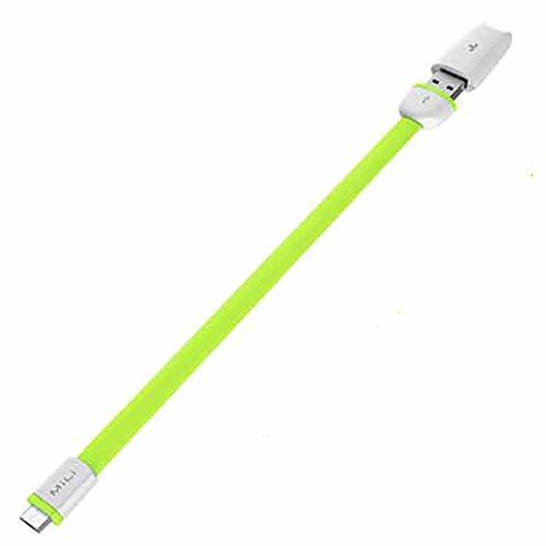 MiLi Micro USB Flat Cable (グリーン) マイクロUSB フラットケーブル 20cm (タイプAオス- マイクロタイプBオス) HX-L02GREEN
