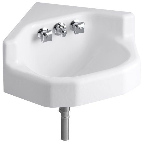Find Bargain KOHLER K-2766-0 Marston Wall-Mount Corner Bathroom Sink, White