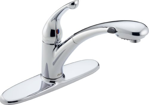 Delta 470-WE-DST Signature Single Handle Water-Efficient Pull-Out Kitchen Faucet, Chrome