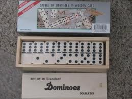 Double Six Standard Dominoes with Brass Spinner in Wooden Case (28 Piece)