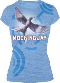 The Hunger Games - Mockingjay Bookart Juniors T-Shirt (Large/Dusty Blue)