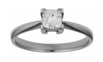 Moissanite 18ct White Gold 0.40 Carat Square Cut Ring - Zoe Kay Jewellery