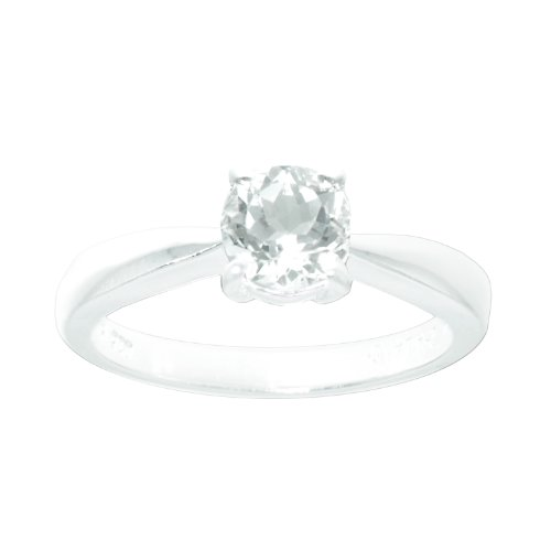 Sterling Silver 6mm Round White Topaz Solitaire Ring, Size 7