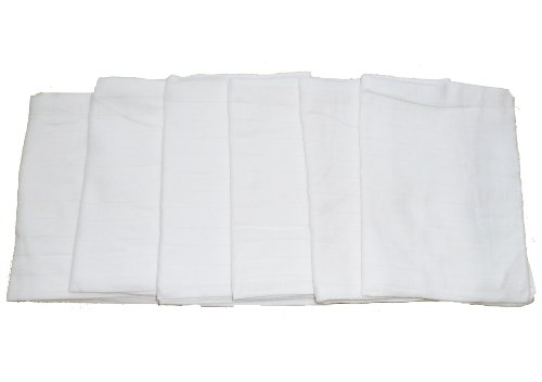 Muslinz Premium Muslin Squares 100% Cotton Supersoft High Quality x 6 in WHITE