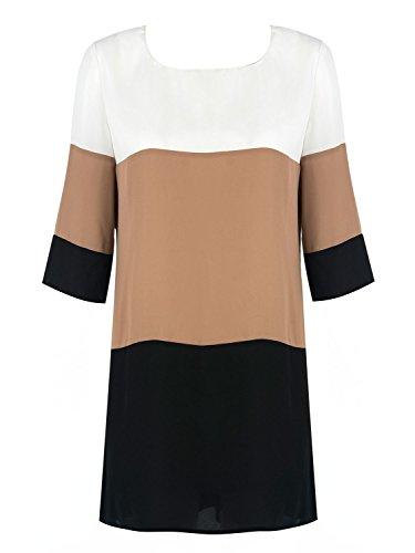 Choies Women's Patchwork Contrast Color Keyhole Back Half Sleeve Shift Dress (X-Large, Multi)
