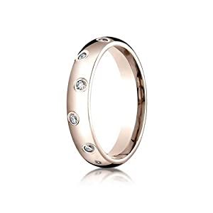 IceCarats Designer Jewelry 14K Rose Gold 4Mm Comfort-Fit Burnish Set 12-Stone Diamond Eternity Ring (.24Ct) Size 8.5
