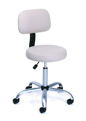 Beige Caressoft Adjustable Drafting Stool with Back