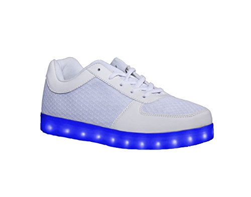 HOVERKICKS Kids Luna LED Light Up Sneakers w/ Remote Control (5, White)