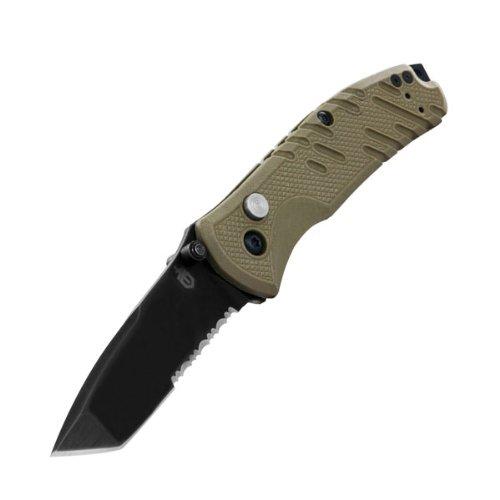 Gerber Knives - Propel Downrange, Tan G-10 Handle, Tanto Black Combo Blade front-398267