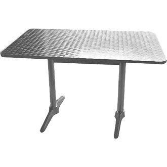 Garden/diseño cilíndrico de acero inoxidable mesa Rectangular superior y borde de aluminio - 120 x 60 cm - diseño elegante y duradero muebles para lugar de tu jardín para