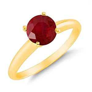 2 CT Ruby Solitaire Ring 14K Yellow Gold In Size 7 (Available In Sizes 5 - 10)