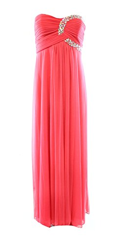 Onyx Nite Coral Women's Strapless Pleated Ball Gown Dress @352