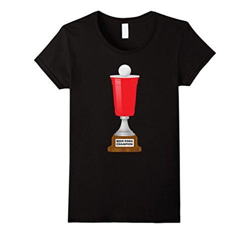 Women's Beer Pong Champion Red Solo Cup and Ball Trophy T-Shirt XL Black (Beer Pong Champions compare prices)