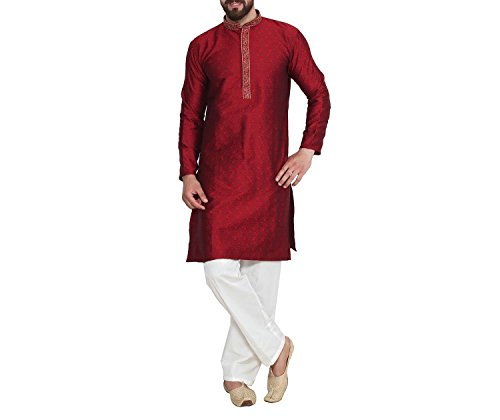 Maroon Jacqaurd Silk Embroidered Traditional Kurta And Pyjama Set For Men By Royal Kurta