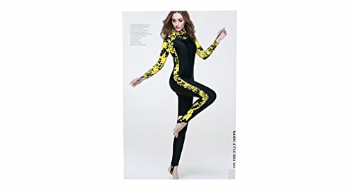 [AZSHARAA diving suit sunscreen diving suits long-sleeved hooded style snorkeling jellyfish wetsuit (Ms. yellow,] (Rip Curl Swimming Costumes)