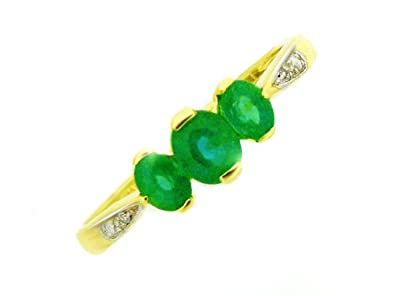 9ct Yellow Gold Emerald and 0.008ct Diamond Ring