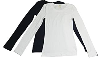Women's Long Sleeve Crewneck Tee,2 Pk: Navy/White, Small