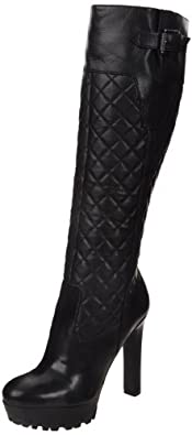 Nine West Women's Hennie Boot,Black Leather,5.5 M US