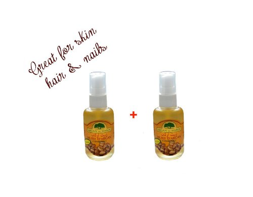 Moroccan 100% organic argan oil for cosmetics, hair & massage 60ml SPRAY PUMP X 2