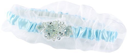 Hortense B. Hewitt Womens Something Blue Wedding Garters, Blue with Beads