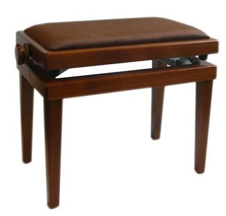 Andexinger 486s Klavierbank Nussbaum mittel , Sitz Stoff braun, made in Germany