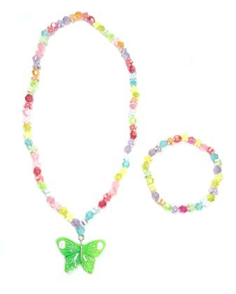 Multi coloured bead and green butterfly pendant Necklace and Bracelet Set
