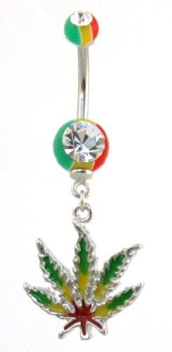 Pierced & Modified - Body Jewellery Navel Bars - Rasta Leaf Dangle Belly Bar