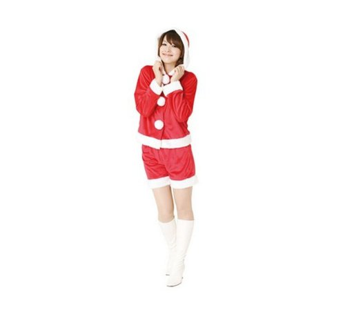 Black Temptation Women's Mrs Santa Christmas Costume Red Shorts(200)