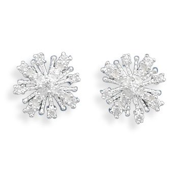 Clevereve Designer Series Xmas Clear Cz Snowflake Sterling Silver Post Earrings 16Mm