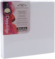 Winsor Newton 8-Inch by 8-Inch Artists Quality Deep Edge Stretched Canvas