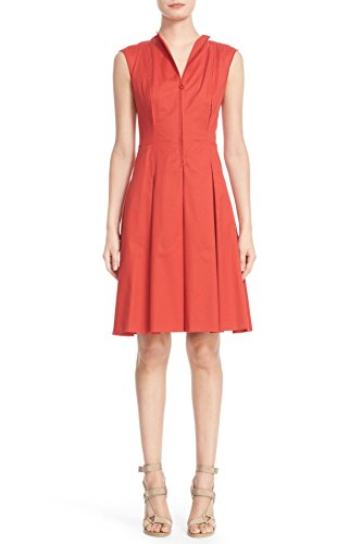 akris-punto-pleated-stretch-cotton-fit-flare-dress-in-rust-size-10