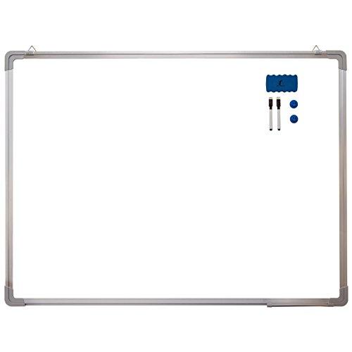 "Whiteboard Set - Dry Erase Board 47 x 35 "" + 1 Magnetic Dry Eraser, 2 Dry-erase Black Marker Pens And 2 Magnets - Large White Hanging Message Scoreboard For Home Office School (47x35"" Landscape)"