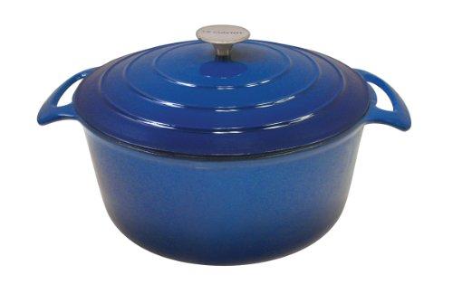Le Cuistot Vieille France Enameled Cast-Iron 7.5 Quart Round Dutch Oven - 2 Tone Blue