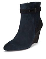 Autograph Suede Wide Fit Water Resistant Strap Wedge Boots with Insolia® & Stretch Zip