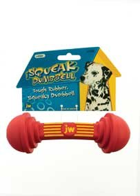 JW Pet iSqueak Rubber Dumbbell Dog Chew Toy