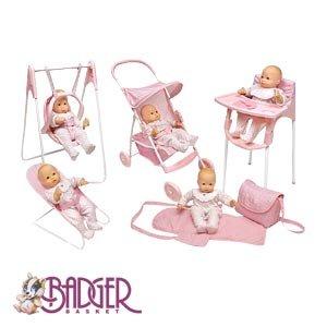 Five Piece Doll Play Set Stroller High Chair