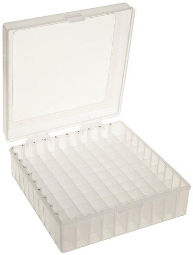 "Scienceware 188510011 Cryogenic Freezer Storage Box Rack, 100-Place, Polypropylene, Natural, 6L x 5.7W x 2.2""H (Pack of 5)"