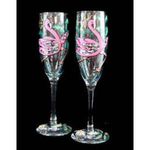Flamingo Frolic Design - Hand Painted - Set of 2 - Champagne Flutes - 6 oz. 8.75 tall