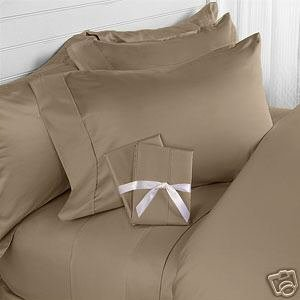 sheetsnthings 450 Thread count Solid Taupe king size Attached Waterbed Sheet Set with Pole attachments 100% Egyptian Cotton at Sears.com