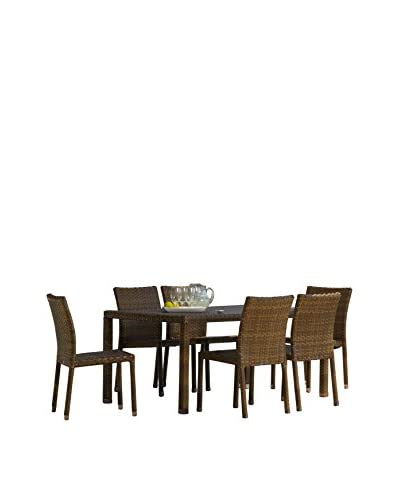 Panama Jack 7-Piece St Barths Rectangular Dining Side Chair Set, Brown