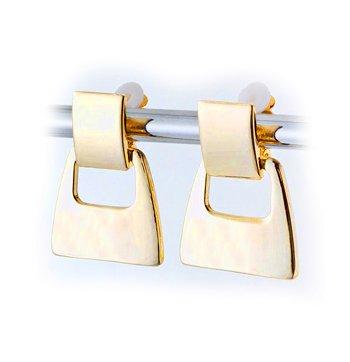 Stylish Goldtone Square Drop Clip Earrings