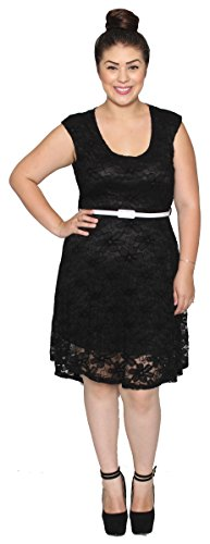Libian Women'S Junior Plus Size Lace Flower Sleeveless Dress With Belt (3X, Black)