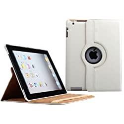 Generic 360 Degree Rotating Leather Smart Cover Case Stand for Apple iPad 2/3/4 (White)