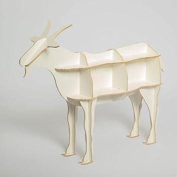 MNII Log Goat tavolino da tavolo da modellare animali Vetro creativo decorazione in legno Decorazioni domestiche 118,5 * 94cm , white- Decorazione domestica